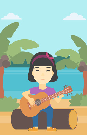 An asian happy musician sitting on log and playing an acoustic guitar. Woman practicing in playing guitar. Guitarist playing on the beach. Vector flat design illustration. Vertical layout. Illustration