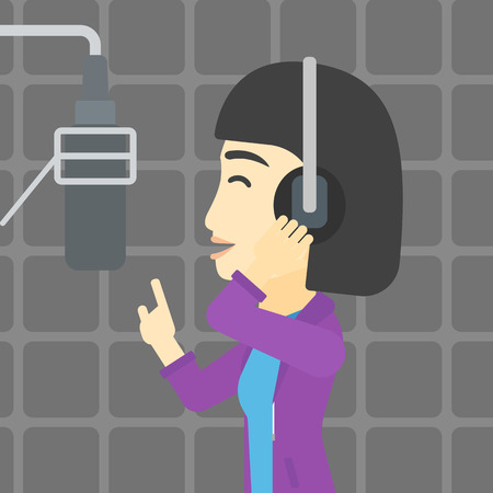 recording: An asian young woman in headphones singing in recording studio. Singer making a record of her voice. Young singer recording a song. Vector flat design illustration. Square layout.