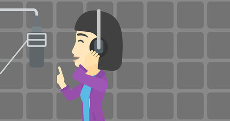 headset voice: An asian young woman in headphones singing in recording studio. Singer making a record of her voice. Young singer recording a song. Vector flat design illustration. Horizontal layout. Illustration