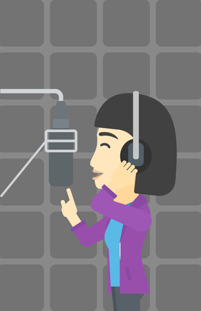 recording: An asian young woman in headphones singing in recording studio. Singer making a record of her voice. Young singer recording a song. Vector flat design illustration. Vertical layout. Illustration