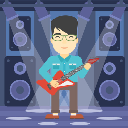 guy playing guitar: An asian young musician playing electric guitar on the stage of nightclub. Man practicing in playing guitar. Guitarist playing music. Vector flat design illustration. Square layout. Illustration