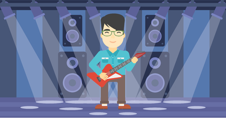 guy playing guitar: An asian young musician playing electric guitar on the stage of nightclub. Man practicing in playing guitar. Guitarist playing music. Vector flat design illustration. Horizontal layout. Illustration