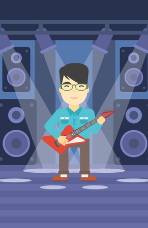 guy playing guitar: An asian young musician playing electric guitar on the stage of nightclub. Man practicing in playing guitar. Guitarist playing music. Vector flat design illustration. Vertical layout. Illustration