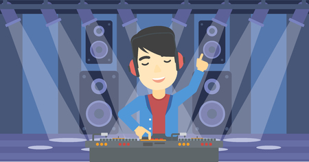 An asian young DJ mixing music on turntables on the stage of nightclub. DJ playing and mixing music on deck with vinyl record. Vector flat design illustration. Horizontal layout.