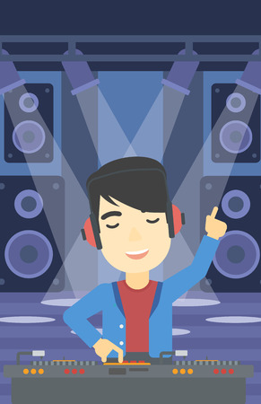 An asian young DJ mixing music on turntables on the stage of nightclub. DJ playing and mixing music on deck with vinyl record. Vector flat design illustration. Vertical layout. Ilustrace