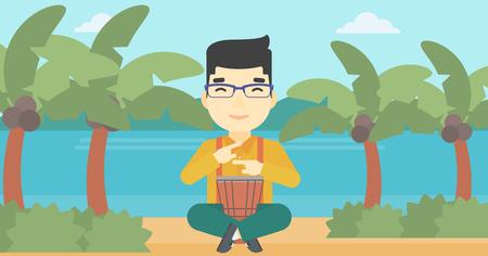 An asian man playing ethnic drum. Mucisian playing ethnic drum on the beach. Man playing ethnic music on tom-tom. Vector flat design illustration. Horizontal layout. Illusztráció