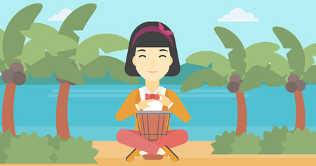 An asian young woman playing ethnic drum. Mucisian playing ethnic drum on the tropical beach. Woman playing ethnic music on tom-tom. Vector flat design illustration. Horizontal layout.