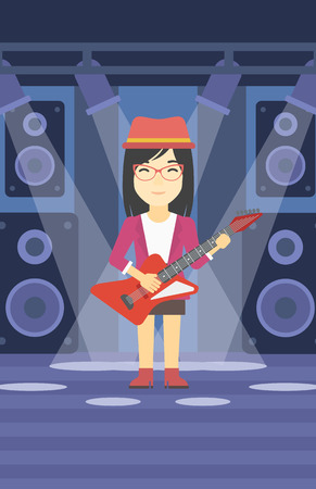 An asian young musician playing electric guitar on the stage of nightclub. Woman practicing in playing guitar. Guitarist playing music. Vector flat design illustration. Vertical layout. Ilustrace