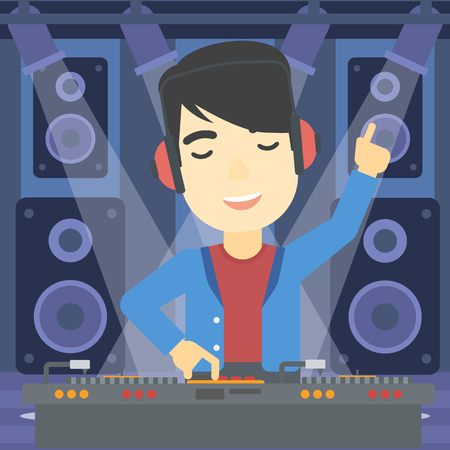 turntables: An asian young DJ mixing music on turntables on the stage of nightclub. DJ playing and mixing music on deck with vinyl record. Vector flat design illustration. Square layout. Illustration