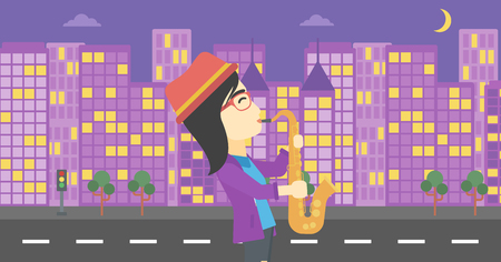 improvisation: An asian musician playing on saxophone. Woman playing on saxophone in the night. Young woman with saxophone in the city street. Vector flat design illustration. Horizontal layout.