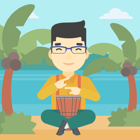 An asian man playing ethnic drum. Mucisian playing ethnic drum on the beach. Man playing ethnic music on tom-tom. Vector flat design illustration. Square layout.