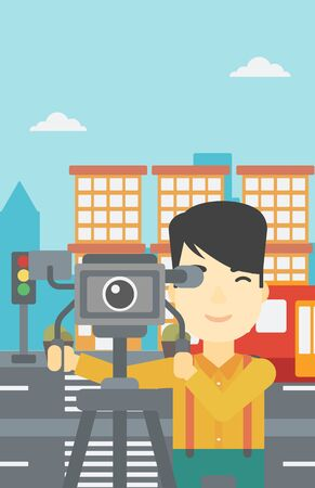 cinematographer: An asian young cameraman looking through movie camera on a tripod. Young man with professional video camera in the city. Vector flat design illustration. Vertical layout. Illustration