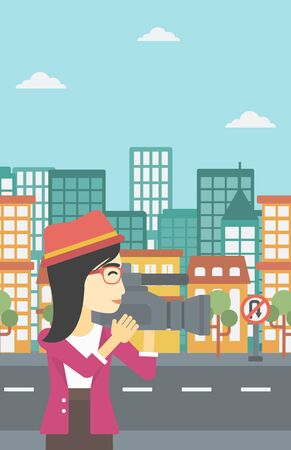 video shooting: An asian young female cameraman looking through movie camera. Woman with professional video camera in the city. Woman shooting outdoor. Vector flat design illustration. Vertical layout.
