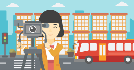 video shooting: An asian young female cameraman looking through movie camera on a tripod. Young woman with professional video camera shooting in the city. Vector flat design illustration. Horizontal layout. Illustration
