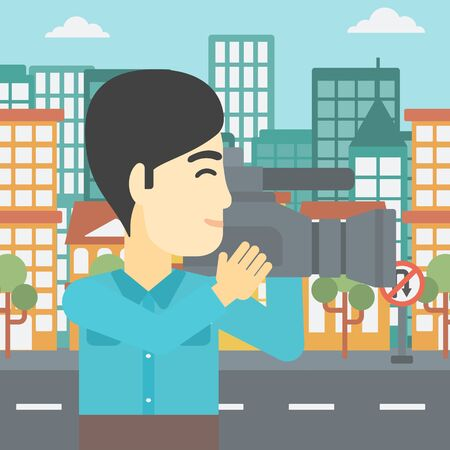 video shooting: An asian young cameraman looking through movie camera. Man with professional video camera in the city. Cameraman shooting outdoor. Vector flat design illustration. Square layout.