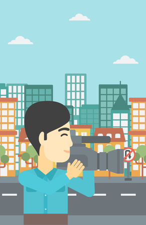 cinematographer: An asian young cameraman looking through movie camera. Man with professional video camera in the city. Cameraman shooting outdoor. Vector flat design illustration. Vertical layout. Illustration