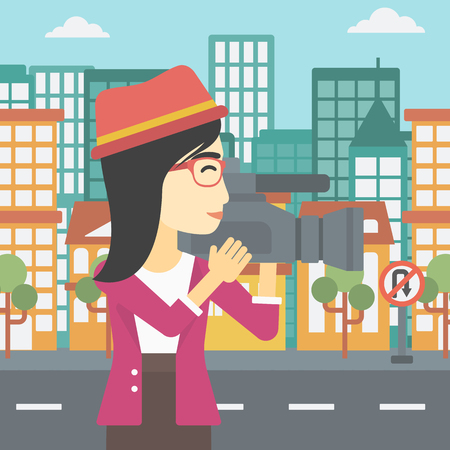 reportage: An asian young female cameraman looking through movie camera. Woman with professional video camera in the city. Woman shooting outdoor. Vector flat design illustration. Square layout.