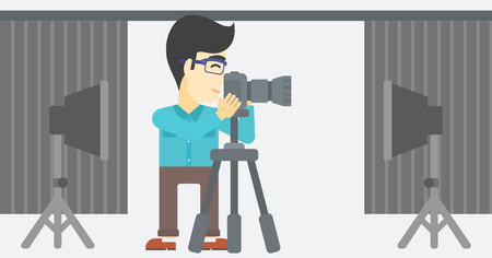 reflector: An asian young photographer working with camera on a tripod in photo studio. Man taking photo with professional digital camera in the studio. Vector flat design illustration. Horizontal layout.