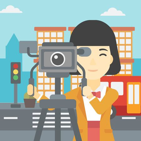 video shooting: An asian young female cameraman looking through movie camera on a tripod. Young woman with professional video camera shooting in the city. Vector flat design illustration. Square layout.
