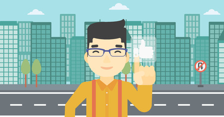 An asian young man pressing like button. Man pressing modern social button with thumb up. Man pressing social network buttonon a city background. Vector flat design illustration. Horizontal layout.