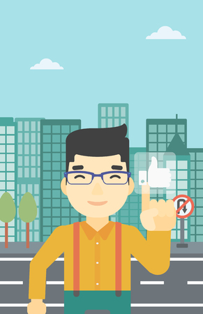 An asian young man pressing like button. Man pressing modern social button with thumb up. Man pressing social network buttonon a city background. Vector flat design illustration. Vertical layout. Ilustração