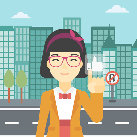 like button: An asian young woman pressing like button. Woman pressing modern social button with thumb up. Woman pressing social network button. Vector flat design illustration. Square layout.