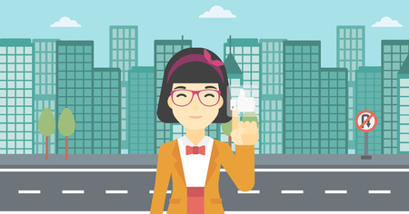 An asian young woman pressing like button. Woman pressing modern social button with thumb up. Woman pressing social network button. Vector flat design illustration. Horizontal layout.