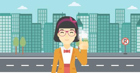like button: An asian young woman pressing like button. Woman pressing modern social button with thumb up. Woman pressing social network button. Vector flat design illustration. Horizontal layout.