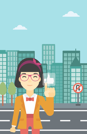 like button: An asian young woman pressing like button. Woman pressing modern social button with thumb up. Woman pressing social network button. Vector flat design illustration. Vertical layout. Illustration