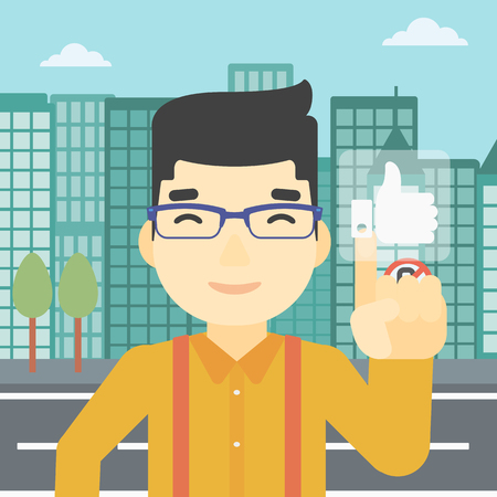 like button: An asian young man pressing like button. Man pressing modern social button with thumb up. Man pressing social network buttonon a city background. Vector flat design illustration. Square layout.
