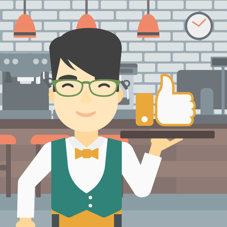 like button: An asian young waiter carrying tray with like button. Waiter holding restaurant tray with like button on a cafe background. Vector flat design illustration. Square layout.