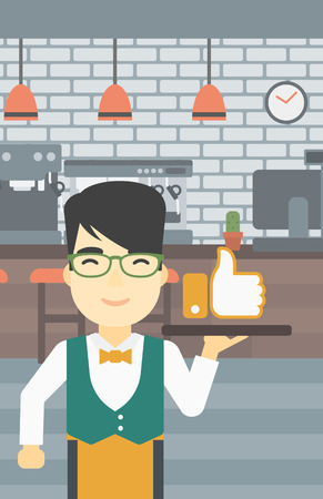 like button: An asian young waiter carrying tray with like button. Waiter holding restaurant tray with like button on a cafe background. Vector flat design illustration. Vertical layout.