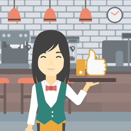 like button: An asian young waitress carrying tray with like button. Waitress holding restaurant tray with like button on a cafe background. Vector flat design illustration. Square layout.