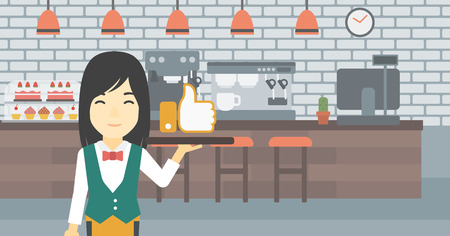 like button: An asian young waitress carrying tray with like button. Waitress holding restaurant tray with like button on a cafe background. Vector flat design illustration. Horizontal layout.