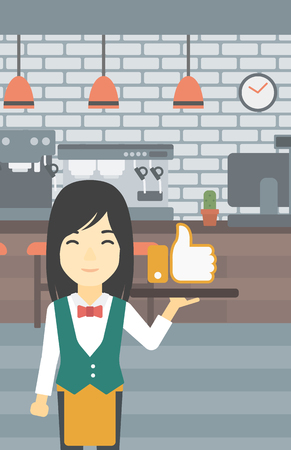 like button: An asian young waitress carrying tray with like button. Waitress holding restaurant tray with like button on a cafe background. Vector flat design illustration. Vertical layout.