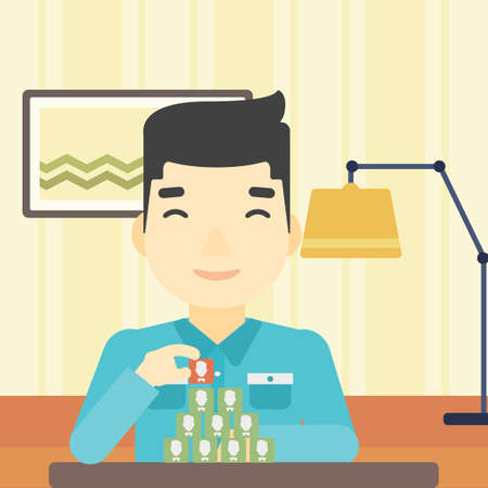 chat room: An asian man making pyramid of network avatars on the background of living room. Man building his social network. Networking and communication concept. Vector flat design illustration. Square layout.