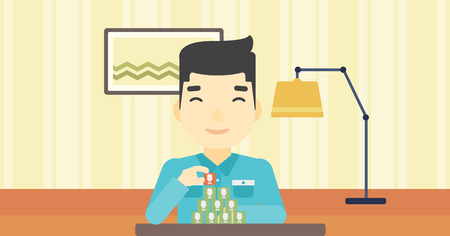 chat room: An asian man making pyramid of network avatars on the background of living room. Man building social network. Networking and communication concept. Vector flat design illustration. Horizontal layout. Illustration