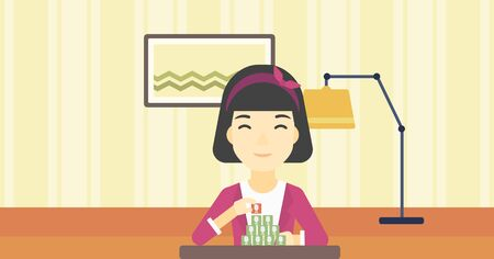 chat room: An asian woman making pyramid of network avatars on the background of room. Woman building social network. Networking and communication concept. Vector flat design illustration. Horizontal layout.