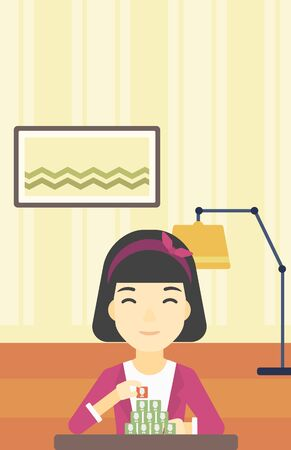 chat room: An asian woman making pyramid of network avatars on the background of room. Woman building social network. Networking and communication concept. Vector flat design illustration. Vertical layout.