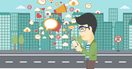 An asian man using smartphone with lots of social media application icons flying out on a city background. Vector flat design illustration. Horizontal layout.