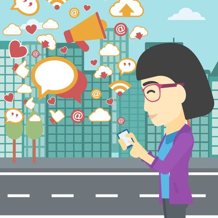 smart phone woman: An asian woman using smartphone with lots of social media application icons flying out on a city background. Vector flat design illustration. Square layout.