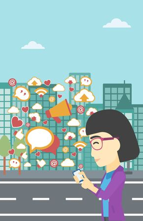 smart phone woman: An asian woman using smartphone with lots of social media application icons flying out on a city background. Vector flat design illustration. Vertical layout.