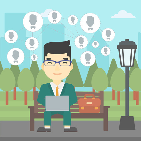 asian man laptop: An asian man sitting on a bench in the park and using a laptop with network avatar icons above. Businessman working on a laptop. Social network concept. Vector flat design illustration. Square layout.