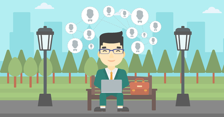 asian man laptop: An asian man sitting on bench in park and using a laptop with network avatar icons above. Businessman working on a laptop. Social network concept. Vector flat design illustration. Horizontal layout. Illustration