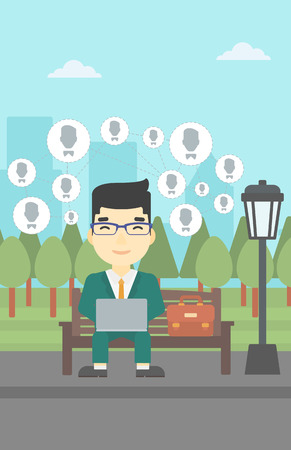 surfing the net: Asian man sitting on a bench in the park and using a laptop with network avatar icons above. Businessman working on a laptop. Social network concept. Vector flat design illustration. Vertical layout.
