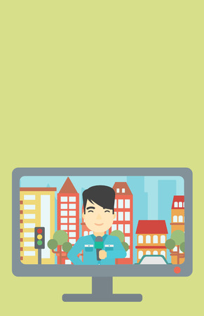television set: Television set broadcasting the news with an asian reporter on a city background. Vector flat design illustration. Vertical layout.