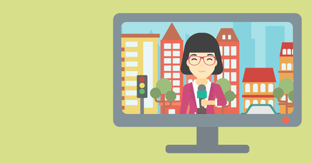 announcer: Television set broadcasting the news with an asian reporter on a city background. Vector flat design illustration. Horizontal layout.