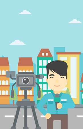 tv reporter: An asian reporter with microphone standing on a background with camera. TV reporter presenting the news. TV transmission with a reporter. Vector flat design illustration. Vertical layout.