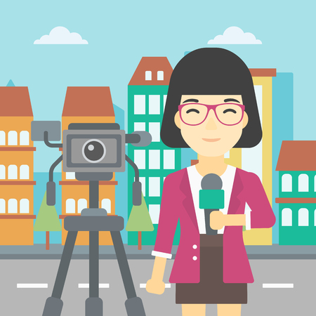 tv reporter: An asian reporter with microphone standing on a background with camera. TV reporter presenting the news. TV transmission with a reporter. Vector flat design illustration. Square layout. Illustration