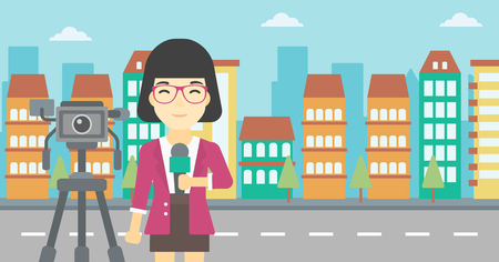 tv reporter: An asian reporter with microphone standing on a background with camera. TV reporter presenting the news. TV transmission with a reporter. Vector flat design illustration. Horizontal layout.